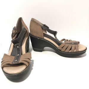 Jambu Two Tone Brown Leather Wedge Sandals